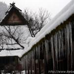 美山町の降雪の茅葺